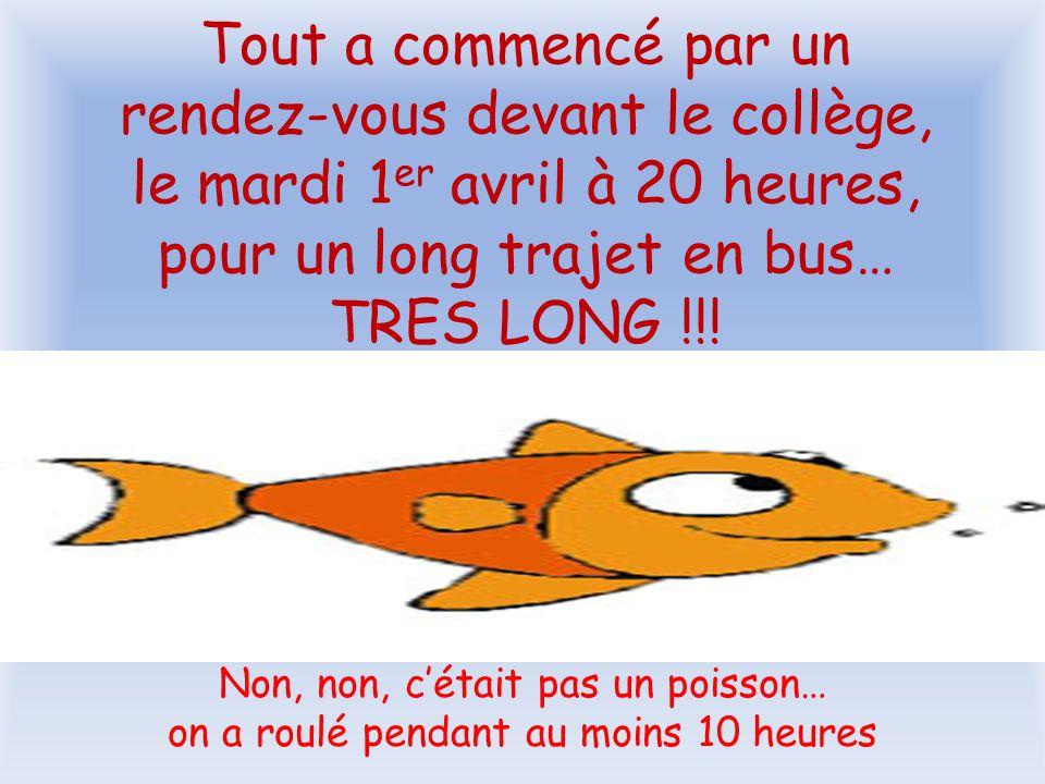 Tout a commencé par un rendez-vous devant le collège, le mardi 1 er avril à 20 heures, pour un long trajet en bus… TRES LONG !!.