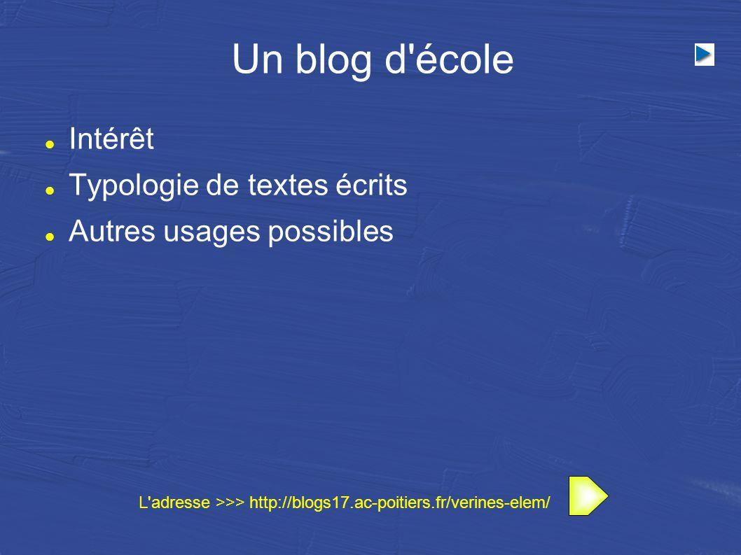 Un blog d école Intérêt Typologie de textes écrits Autres usages possibles L adresse >>> http://blogs17.ac-poitiers.fr/verines-elem/