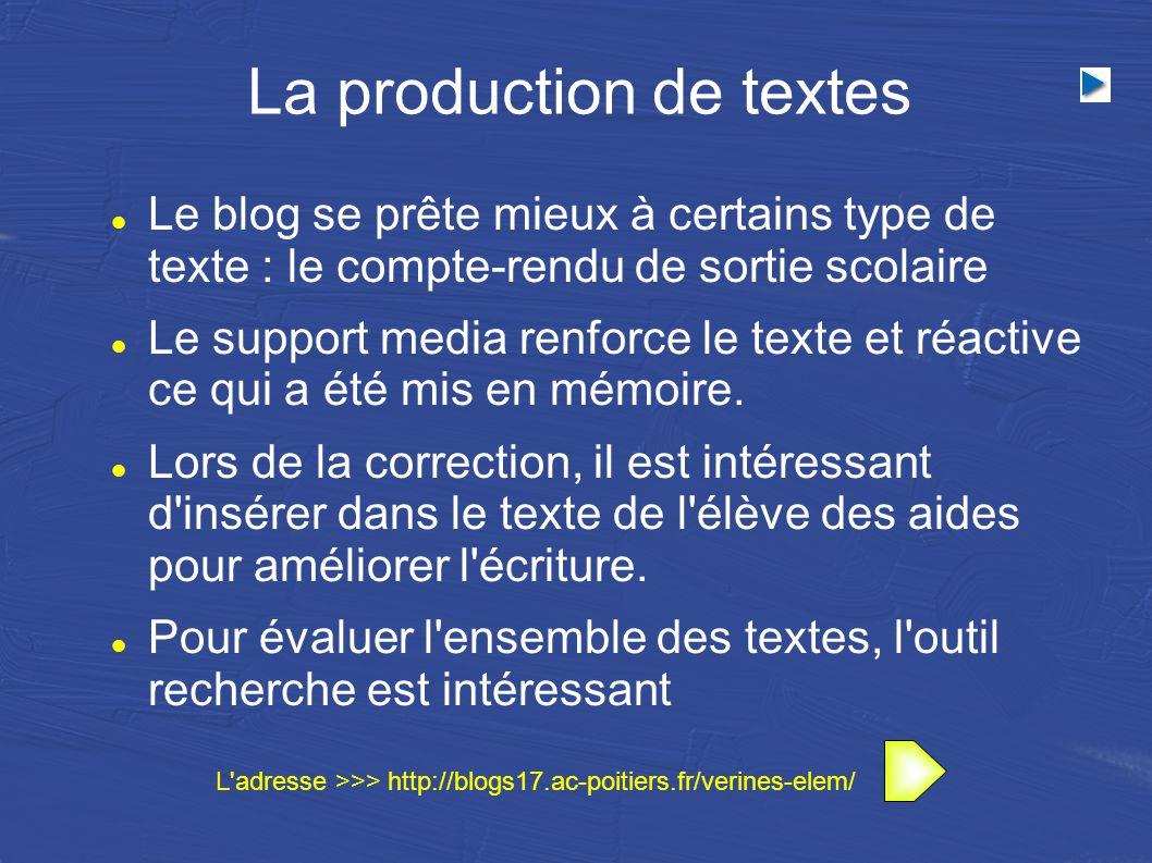 La production de textes Le blog se prête mieux à certains type de texte : le compte-rendu de sortie scolaire Le support media renforce le texte et réactive ce qui a été mis en mémoire.