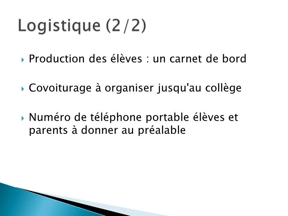  Production des élèves : un carnet de bord  Covoiturage à organiser jusqu au collège  Numéro de téléphone portable élèves et parents à donner au préalable