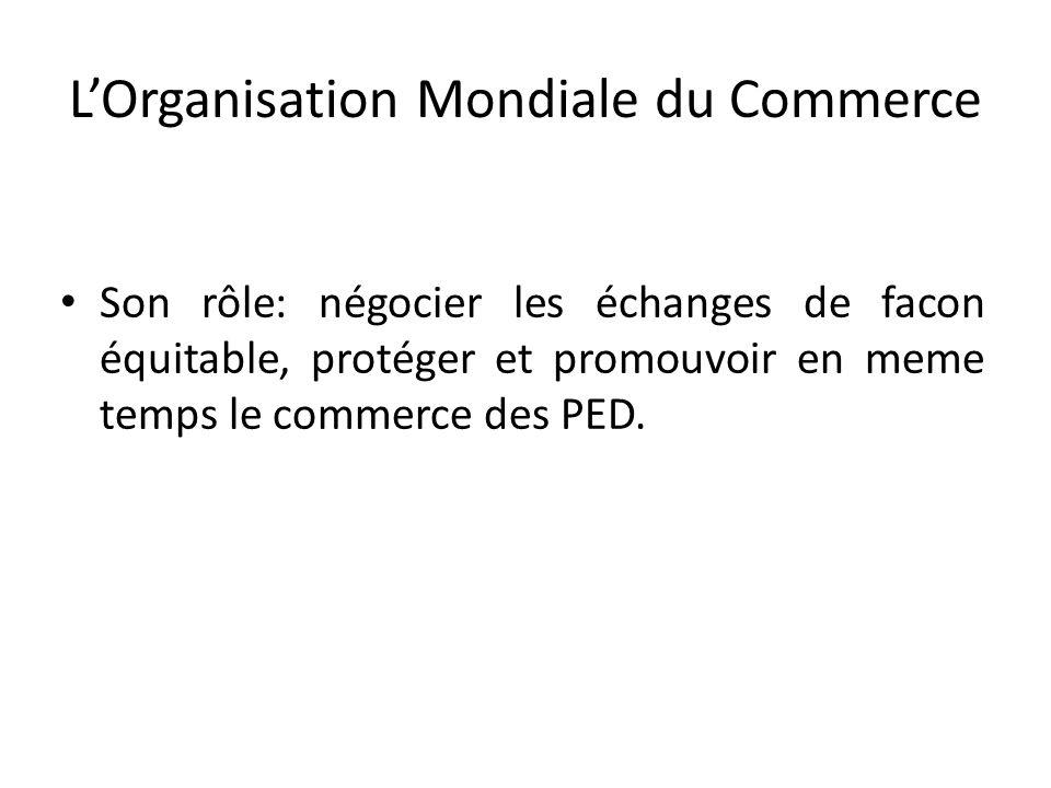 L'Organisation Mondiale du Commerce Son rôle: négocier les échanges de facon équitable, protéger et promouvoir en meme temps le commerce des PED.