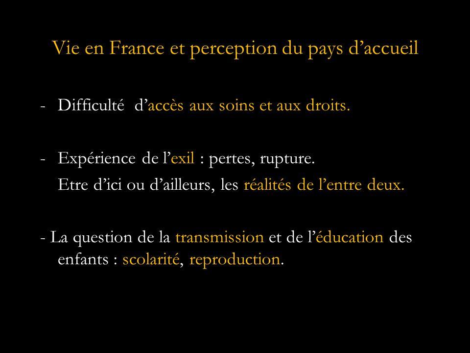 Vie en France et perception du pays d'accueil -Difficulté d'accès aux soins et aux droits.