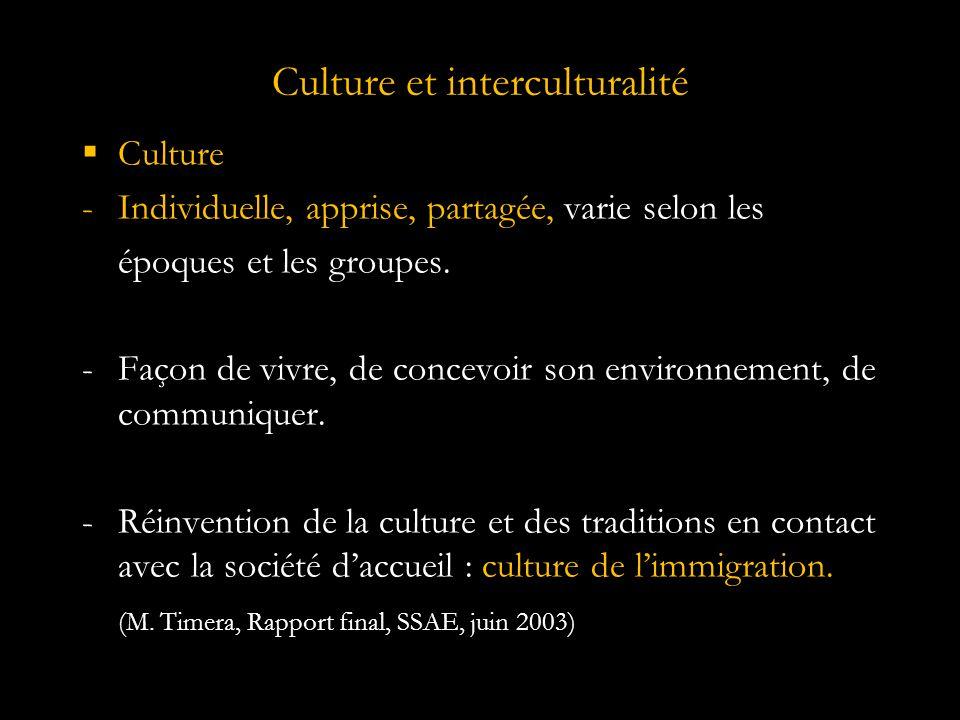 Culture et interculturalité  Culture -Individuelle, apprise, partagée, varie selon les époques et les groupes.