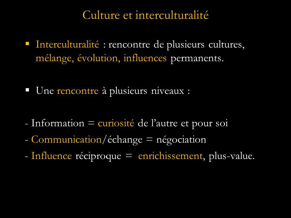 Culture et interculturalité  Interculturalité : rencontre de plusieurs cultures, mélange, évolution, influences permanents.