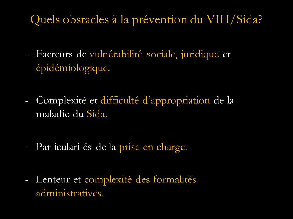 Quels obstacles à la prévention du VIH/Sida.