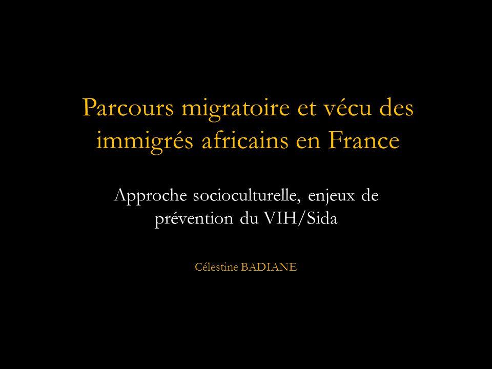 Approche socioculturelle, enjeux de prévention du VIH/Sida Célestine BADIANE Parcours migratoire et vécu des immigrés africains en France