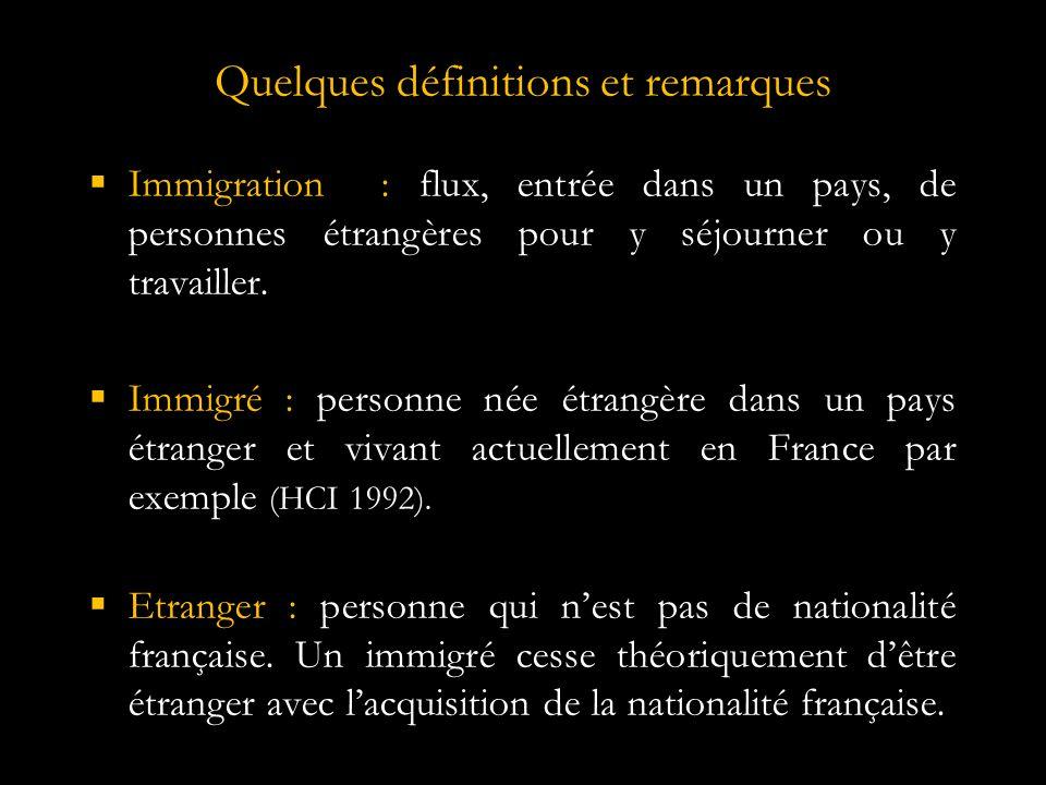 Quelques définitions et remarques  Immigration : flux, entrée dans un pays, de personnes étrangères pour y séjourner ou y travailler.