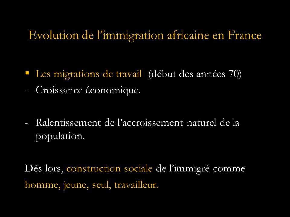Evolution de l'immigration africaine en France  Les migrations des épouses (milieu 70) -Politique de regroupement familial, processus de féminisation et de rajeunissement.
