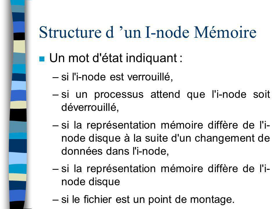 Structure d 'un I-node Mémoire Un mot d'état indiquant : –si l'i-node est verrouillé, –si un processus attend que l'i-node soit déverrouillé, –si la r