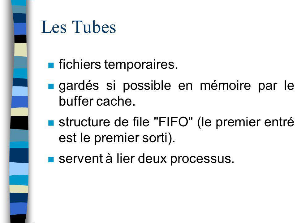 Les Tubes fichiers temporaires. gardés si possible en mémoire par le buffer cache. structure de file
