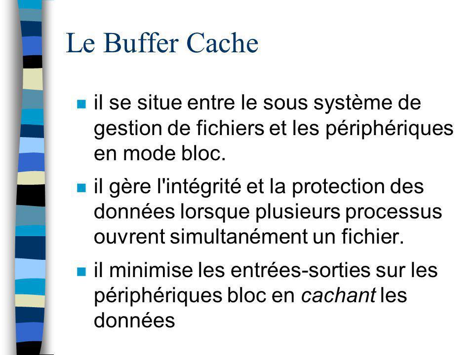 Le Buffer Cache il se situe entre le sous système de gestion de fichiers et les périphériques en mode bloc. il gère l'intégrité et la protection des d