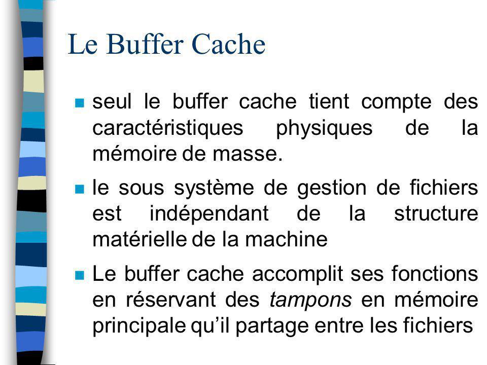 Le Buffer Cache seul le buffer cache tient compte des caractéristiques physiques de la mémoire de masse. le sous système de gestion de fichiers est in