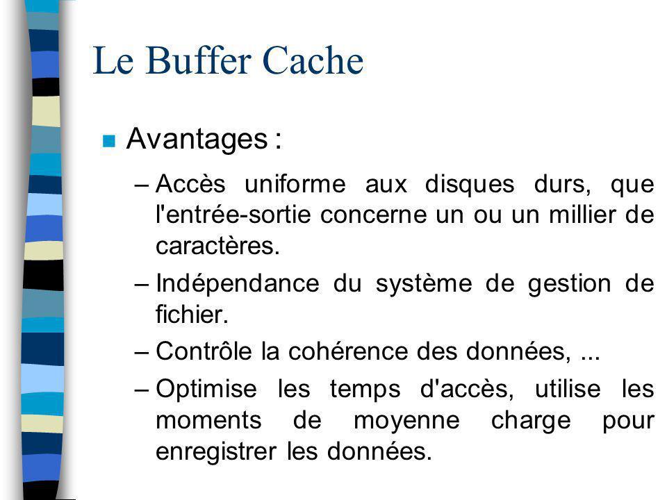 Le Buffer Cache Avantages : –Accès uniforme aux disques durs, que l'entrée-sortie concerne un ou un millier de caractères. –Indépendance du système de