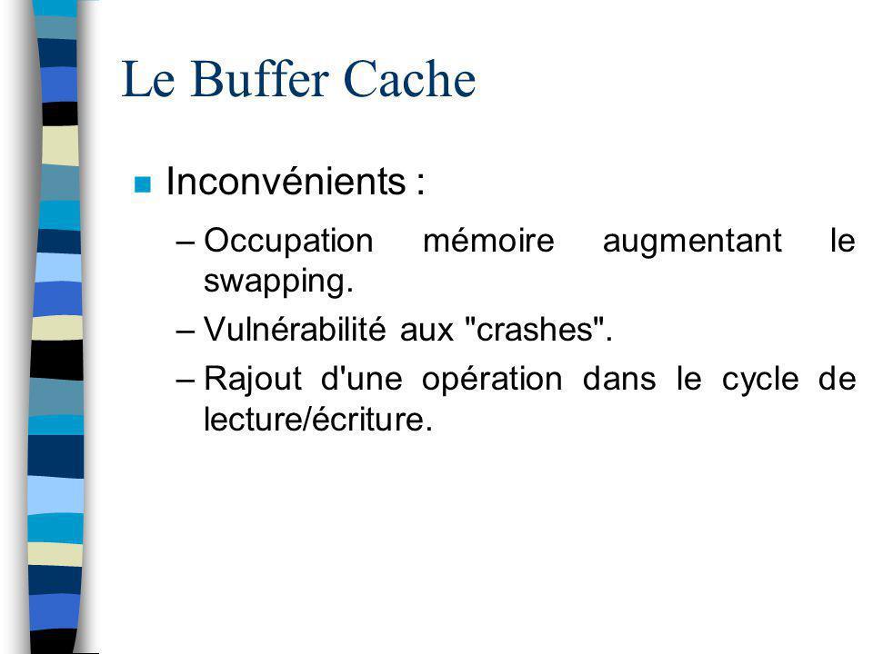 Le Buffer Cache Inconvénients : –Occupation mémoire augmentant le swapping. –Vulnérabilité aux