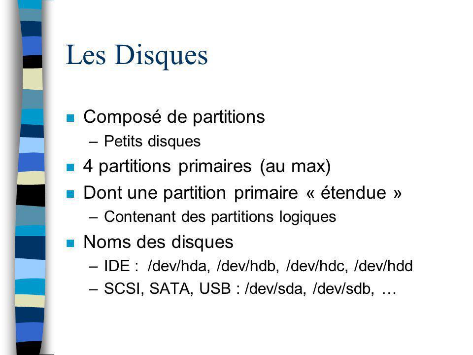 Les Disques n Composé de partitions –Petits disques n 4 partitions primaires (au max) n Dont une partition primaire « étendue » –Contenant des partiti