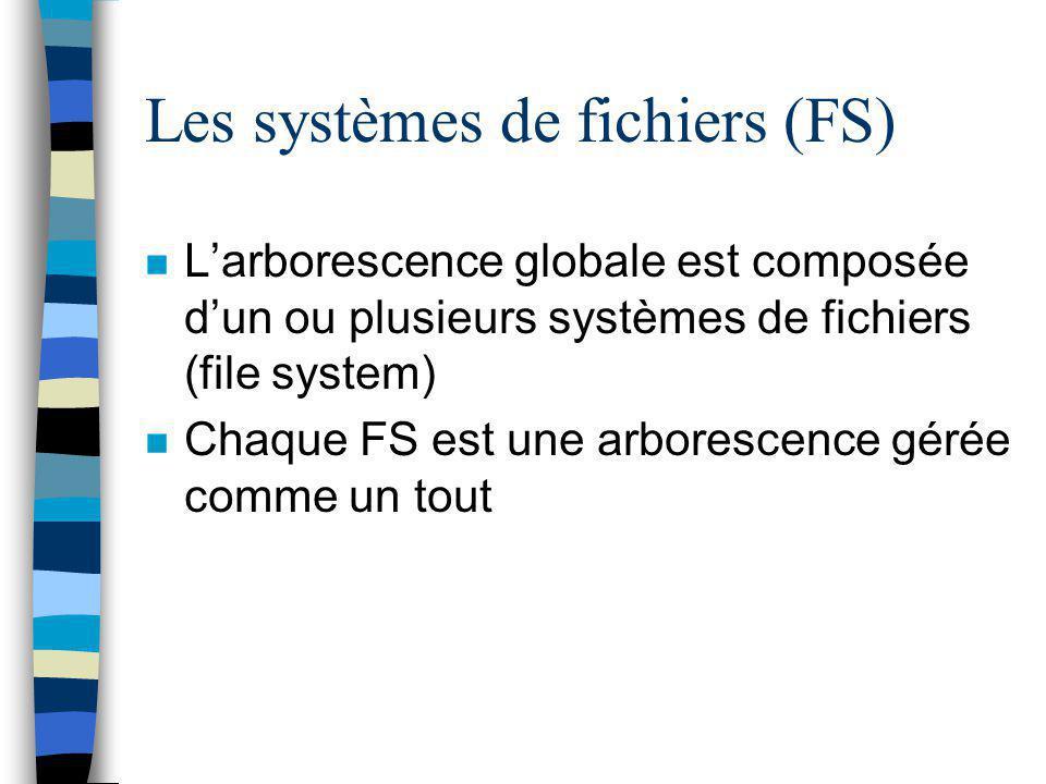 Les systèmes de fichiers (FS) n L'arborescence globale est composée d'un ou plusieurs systèmes de fichiers (file system) n Chaque FS est une arboresce