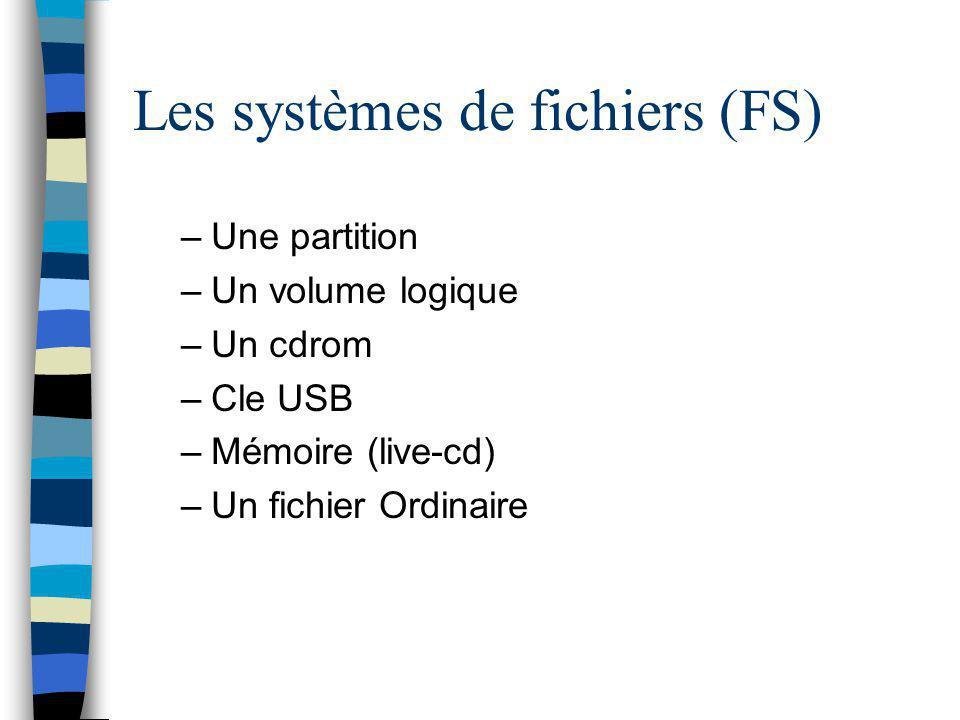 Les systèmes de fichiers (FS) –Une partition –Un volume logique –Un cdrom –Cle USB –Mémoire (live-cd) –Un fichier Ordinaire