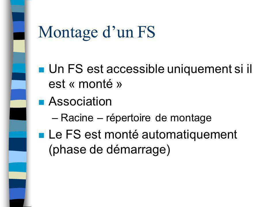 Montage d'un FS n Un FS est accessible uniquement si il est « monté » n Association –Racine – répertoire de montage n Le FS est monté automatiquement