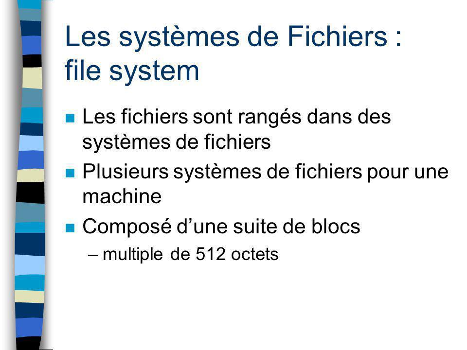 Les systèmes de Fichiers : file system n Les fichiers sont rangés dans des systèmes de fichiers n Plusieurs systèmes de fichiers pour une machine n Co