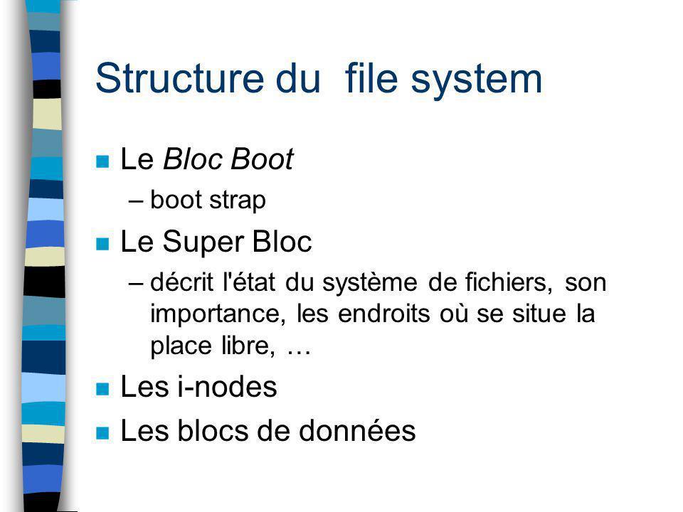 Structure du file system n Le Bloc Boot –boot strap n Le Super Bloc –décrit l'état du système de fichiers, son importance, les endroits où se situe la