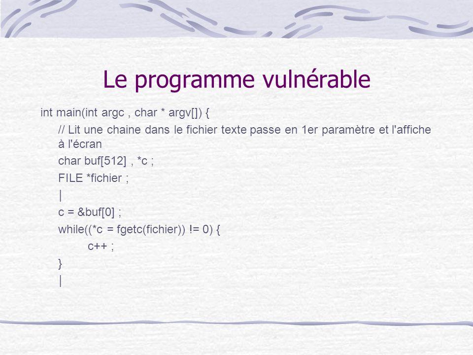Le programme vulnérable int main(int argc, char * argv[]) { // Lit une chaine dans le fichier texte passe en 1er paramètre et l'affiche à l'écran char