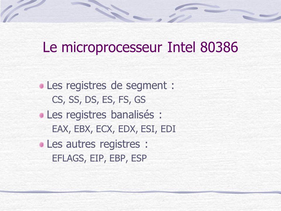 Le microprocesseur Intel 80386 Les registres de segment : CS, SS, DS, ES, FS, GS Les registres banalisés : EAX, EBX, ECX, EDX, ESI, EDI Les autres reg