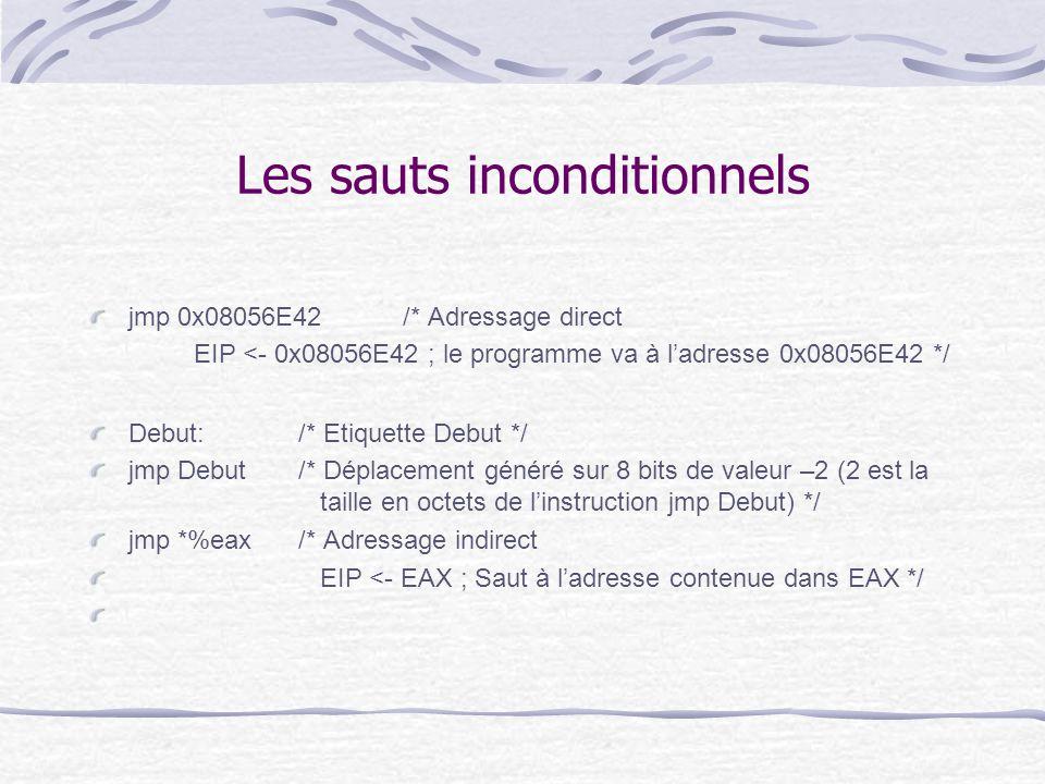 Les sauts inconditionnels jmp 0x08056E42/* Adressage direct EIP <- 0x08056E42 ; le programme va à l'adresse 0x08056E42 */ Debut:/* Etiquette Debut */
