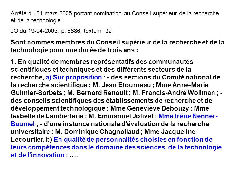 Arrêté du 31 mars 2005 portant nomination au Conseil supérieur de la recherche et de la technologie. JO du 19-04-2005, p. 6886, texte n° 32 Sont nommé