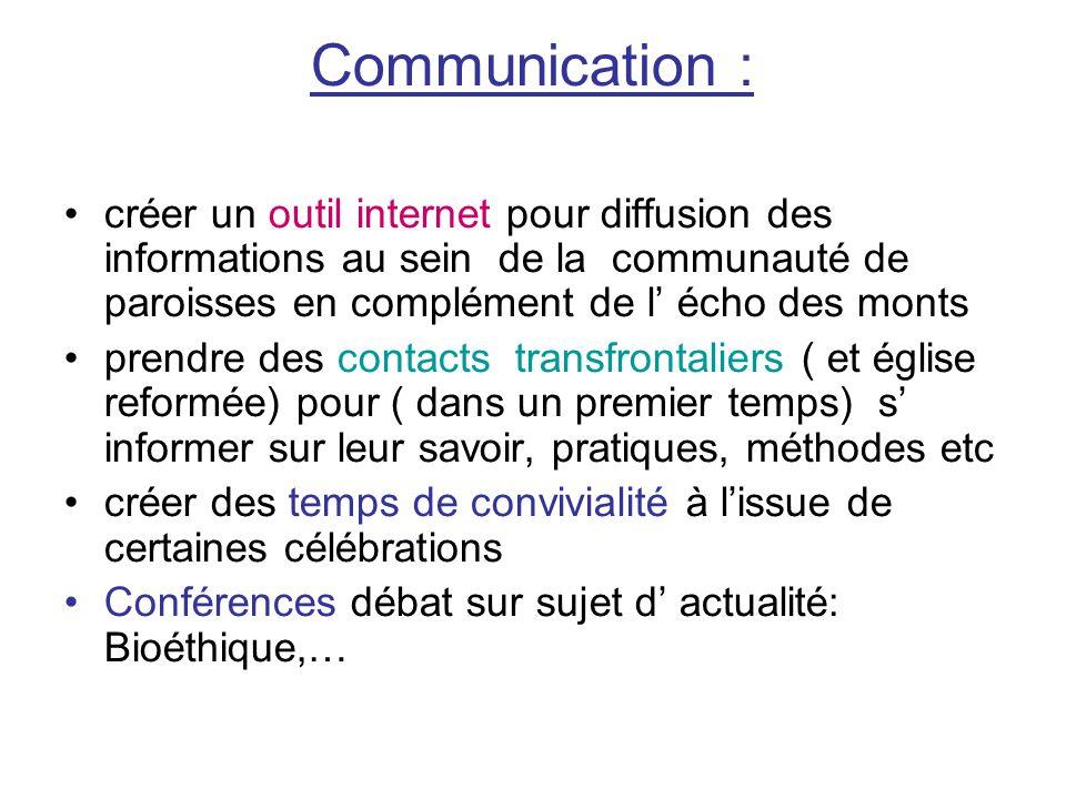 Communication : créer un outil internet pour diffusion des informations au sein de la communauté de paroisses en complément de l' écho des monts prend