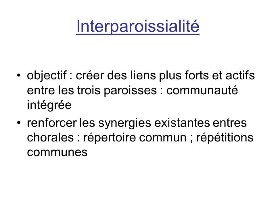 Interparoissialité objectif : créer des liens plus forts et actifs entre les trois paroisses : communauté intégrée renforcer les synergies existantes