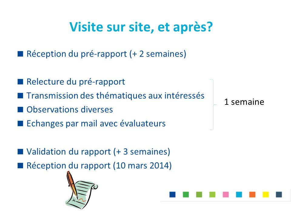 Visite sur site, et après?  Réception du pré-rapport (+ 2 semaines)  Relecture du pré-rapport  Transmission des thématiques aux intéressés  Observ