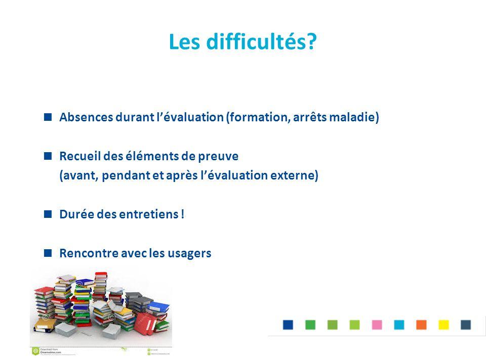 Les difficultés?  Absences durant l'évaluation (formation, arrêts maladie)  Recueil des éléments de preuve (avant, pendant et après l'évaluation ext