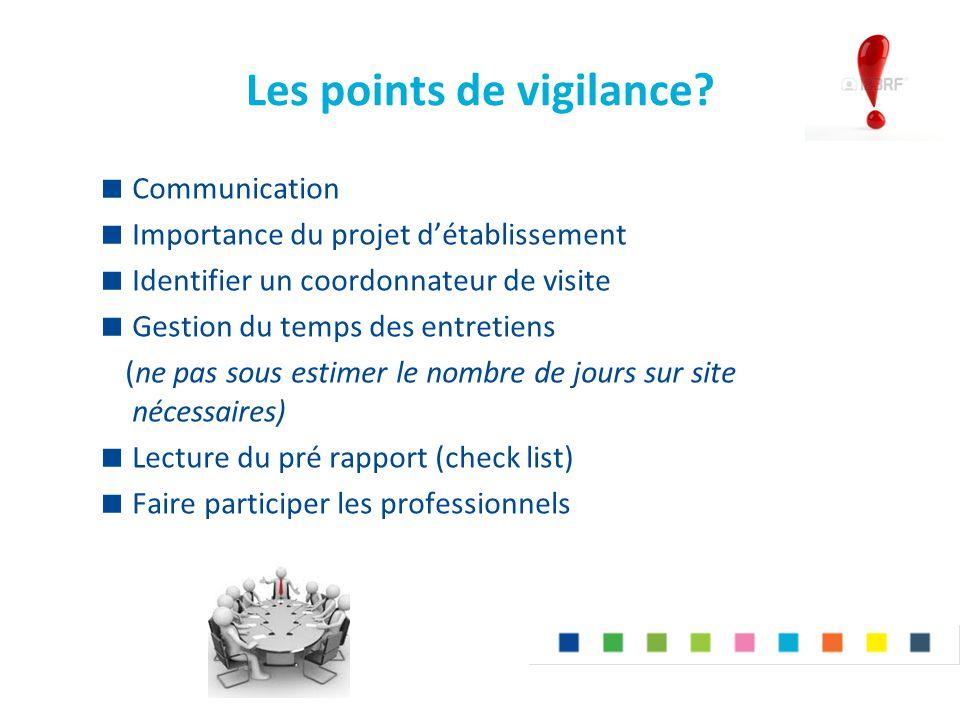 Les points de vigilance?  Communication  Importance du projet d'établissement  Identifier un coordonnateur de visite  Gestion du temps des entreti