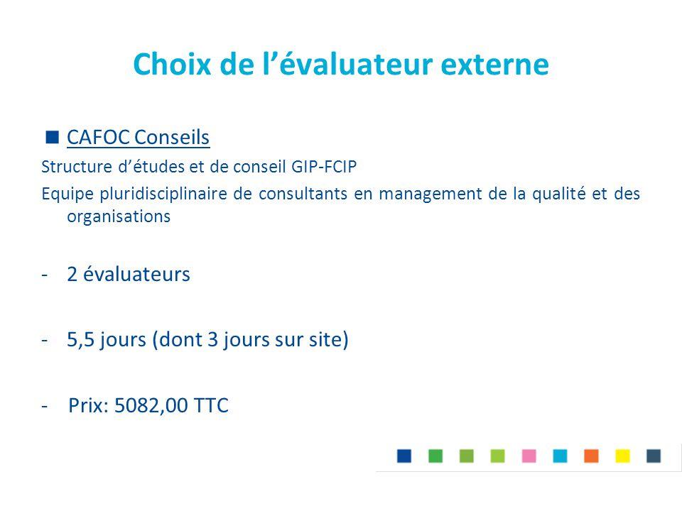 Choix de l'évaluateur externe  CAFOC Conseils Structure d'études et de conseil GIP-FCIP Equipe pluridisciplinaire de consultants en management de la
