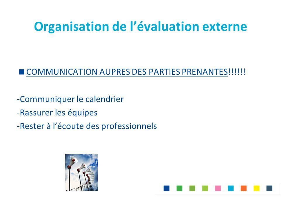 Organisation de l'évaluation externe  COMMUNICATION AUPRES DES PARTIES PRENANTES!!!!!! -Communiquer le calendrier -Rassurer les équipes -Rester à l'é