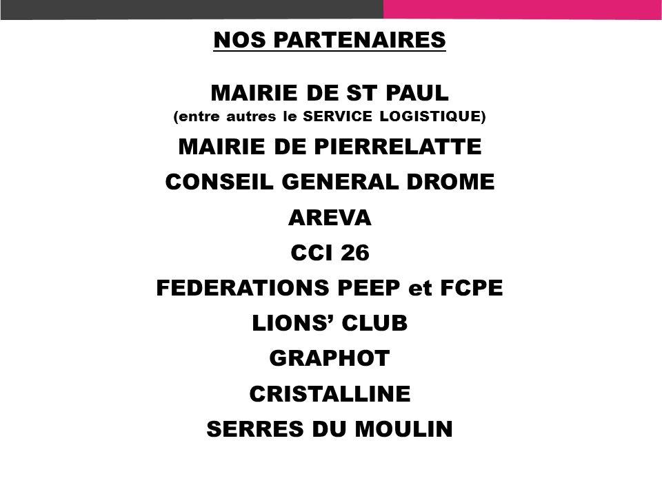 NOS PARTENAIRES MAIRIE DE ST PAUL (entre autres le SERVICE LOGISTIQUE) MAIRIE DE PIERRELATTE CONSEIL GENERAL DROME AREVA CCI 26 FEDERATIONS PEEP et FC