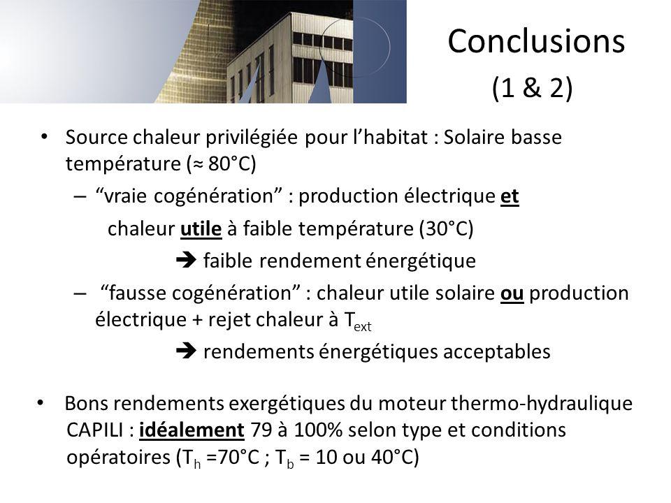 """Source chaleur privilégiée pour l'habitat : Solaire basse température (≈ 80°C) – """"vraie cogénération"""" : production électrique et chaleur utile à faibl"""