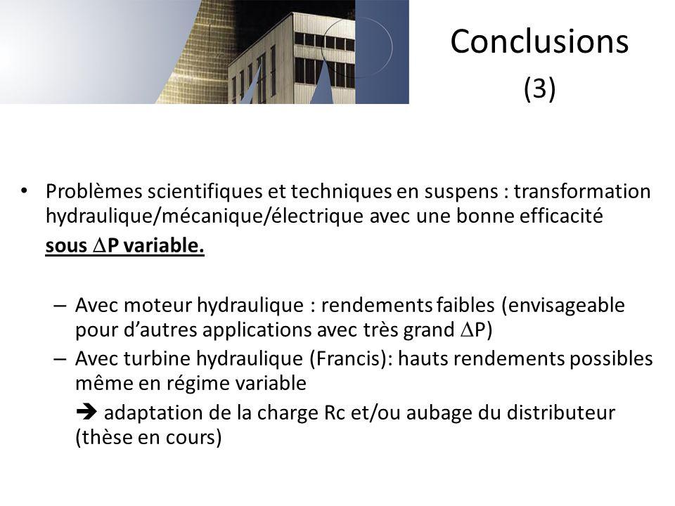 Problèmes scientifiques et techniques en suspens : transformation hydraulique/mécanique/électrique avec une bonne efficacité sous  P variable. – Avec