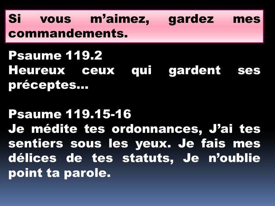 Si vous m'aimez, gardez mes commandements. Psaume 119.2 Heureux ceux qui gardent ses préceptes… Psaume 119.15-16 Je médite tes ordonnances, J'ai tes s