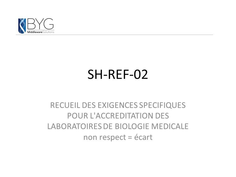 SH-REF-02 RECUEIL DES EXIGENCES SPECIFIQUES POUR L'ACCREDITATION DES LABORATOIRES DE BIOLOGIE MEDICALE non respect = écart