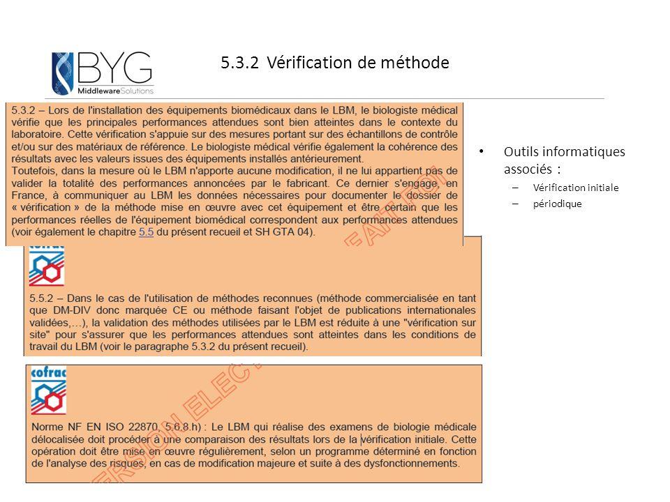 5.3.2 Vérification de méthode Outils informatiques associés : – Vérification initiale – périodique