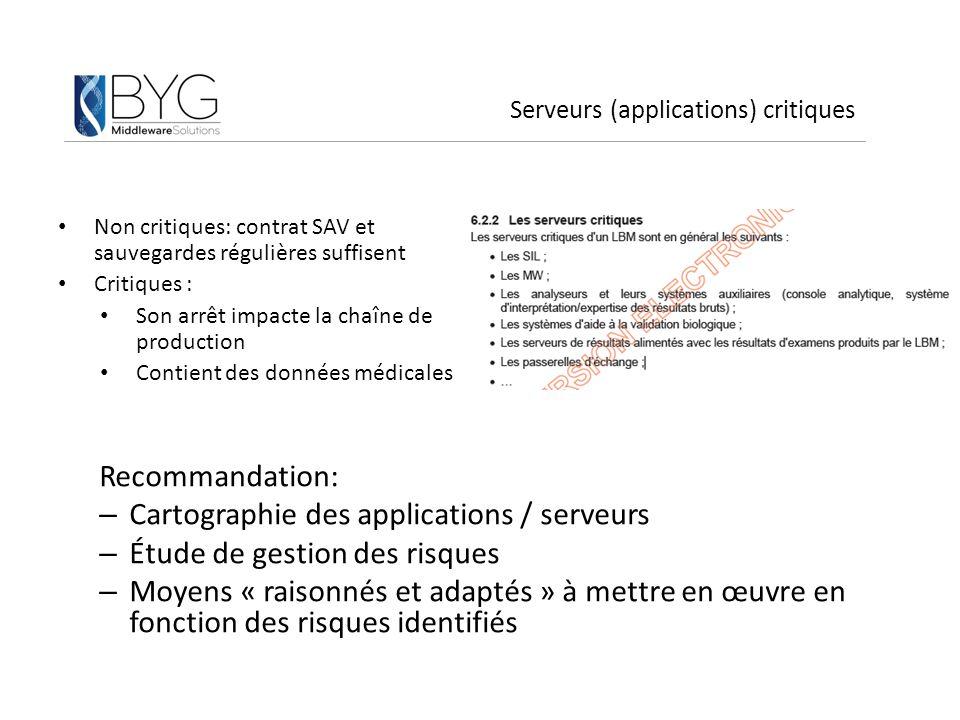 Serveurs (applications) critiques Non critiques: contrat SAV et sauvegardes régulières suffisent Critiques : Son arrêt impacte la chaîne de production