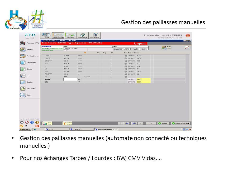 Gestion des paillasses manuelles Gestion des paillasses manuelles (automate non connecté ou techniques manuelles ) Pour nos échanges Tarbes / Lourdes