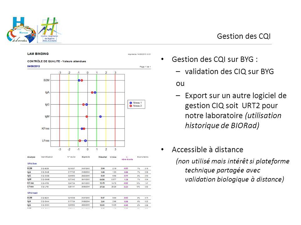 Gestion des CQI Gestion des CQI sur BYG : –validation des CIQ sur BYG ou –Export sur un autre logiciel de gestion CIQ soit URT2 pour notre laboratoire