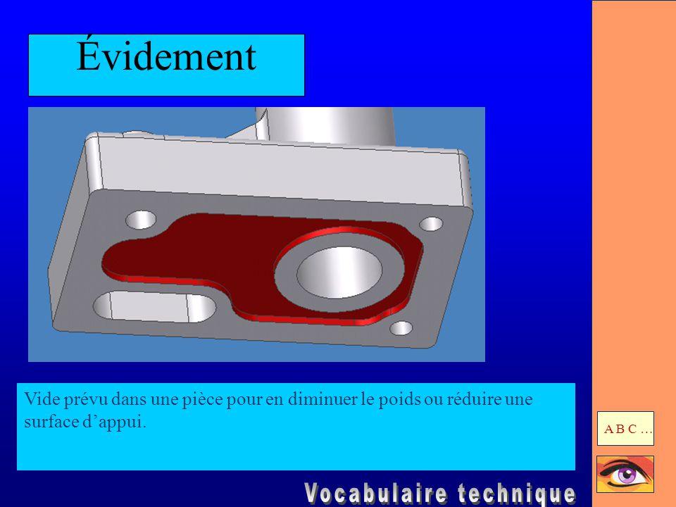 Évidement Vide prévu dans une pièce pour en diminuer le poids ou réduire une surface d'appui. A B C …