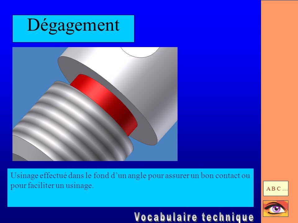 Dégagement Usinage effectué dans le fond d'un angle pour assurer un bon contact ou pour faciliter un usinage. A B C …
