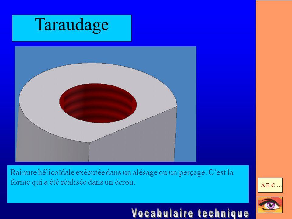 Taraudage Rainure hélicoïdale exécutée dans un alésage ou un perçage. C'est la forme qui a été réalisée dans un écrou. A B C …