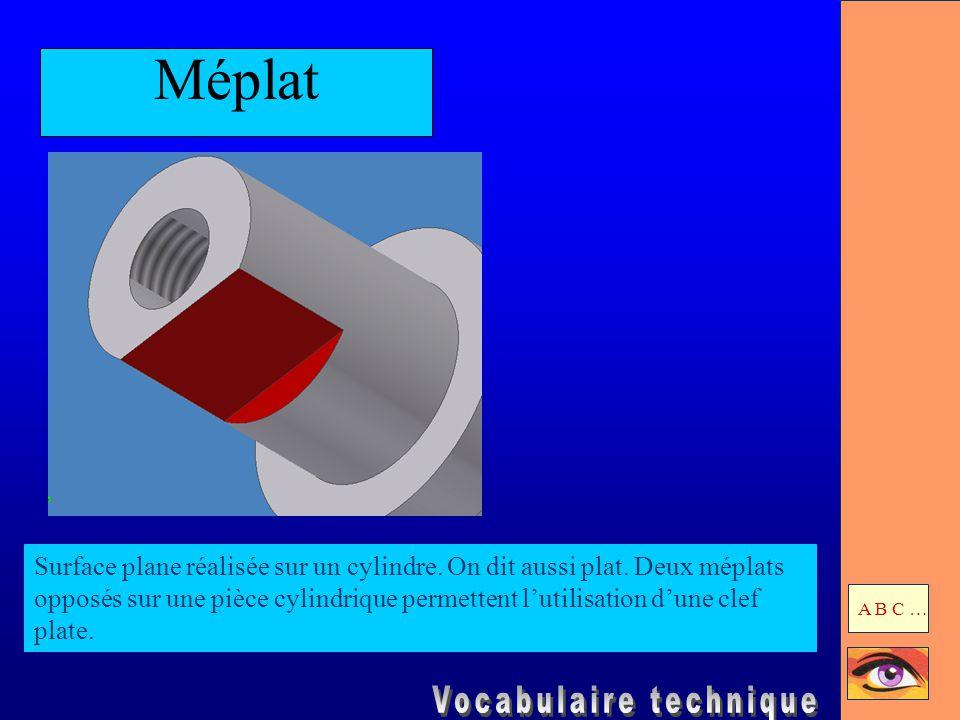 Méplat Surface plane réalisée sur un cylindre. On dit aussi plat. Deux méplats opposés sur une pièce cylindrique permettent l'utilisation d'une clef p