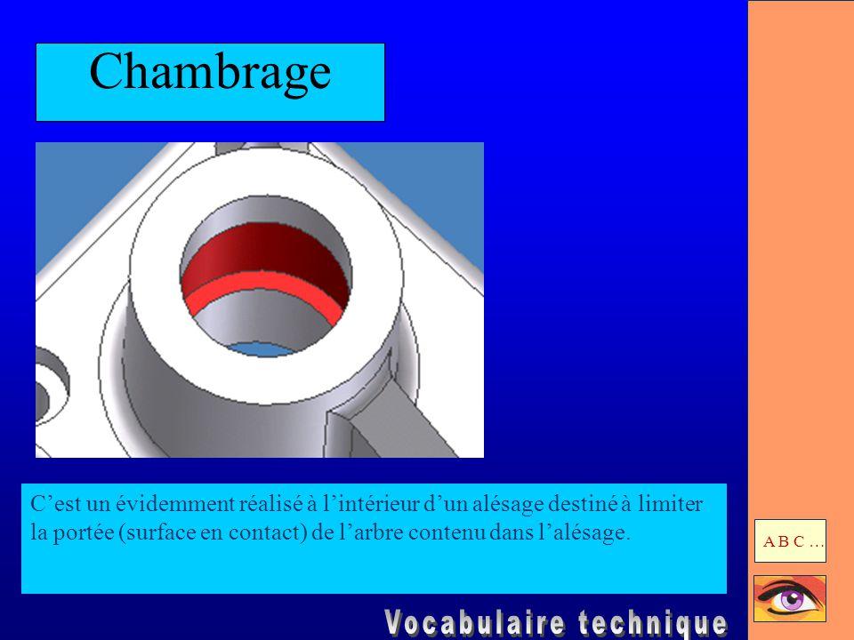 Chambrage C'est un évidemment réalisé à l'intérieur d'un alésage destiné à limiter la portée (surface en contact) de l'arbre contenu dans l'alésage. A