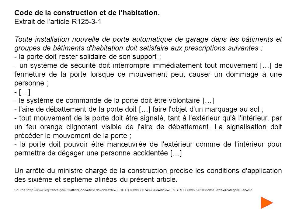 Code de la construction et de l'habitation. Extrait de l'article R125-3-1 Toute installation nouvelle de porte automatique de garage dans les bâtiment